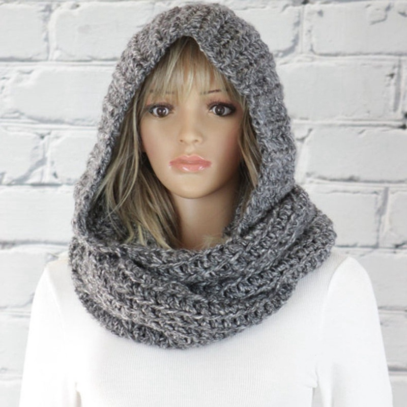 Fashion hooded bib women's solid color woolen cap knitted scarf warm knitted scarf cold ear protection face protection