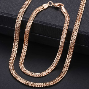 Davieslee 585 Rose Gold Jewelry Set For Women Braided Foxtail Link Chain Necklace Bracelet Set Wholesale Jewelry 2018 Gift LCSS1(China)