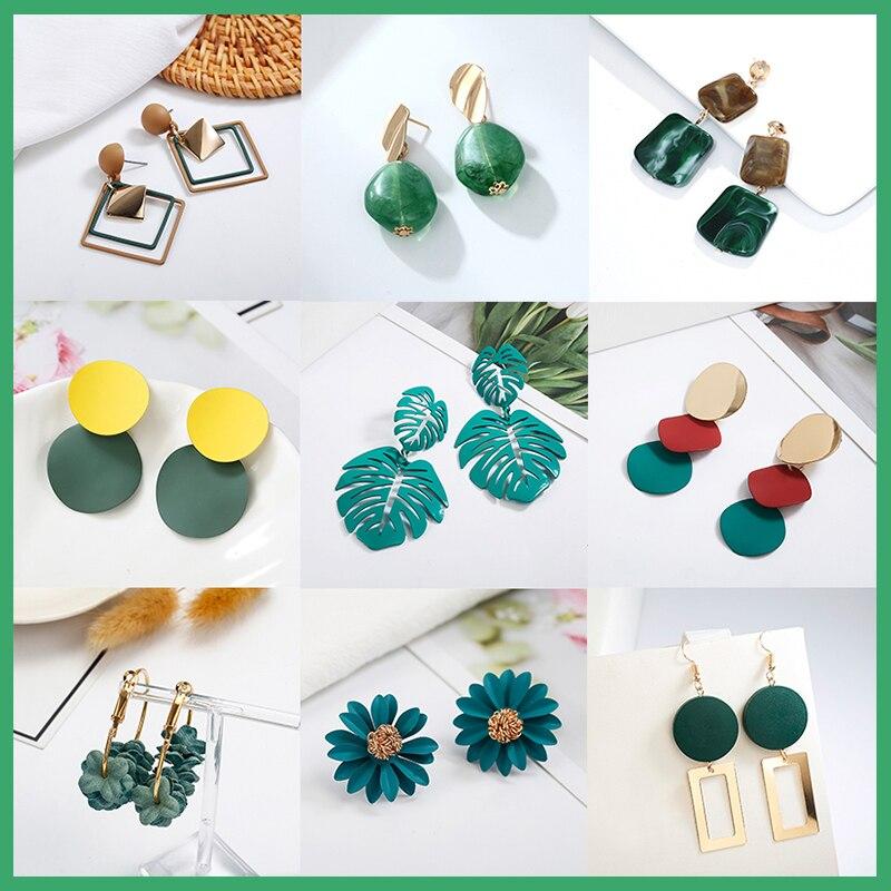 2020, корейские разнообразные висячие серьги, уникальный дизайн, цветы, смола, акрил, зеленый цвет, висячие серьги
