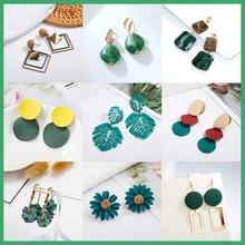 2020 coreano geométrico pingente brincos múltiplos brincos de gota design exclusivo flores resina acrílico cor verde balançar brinco