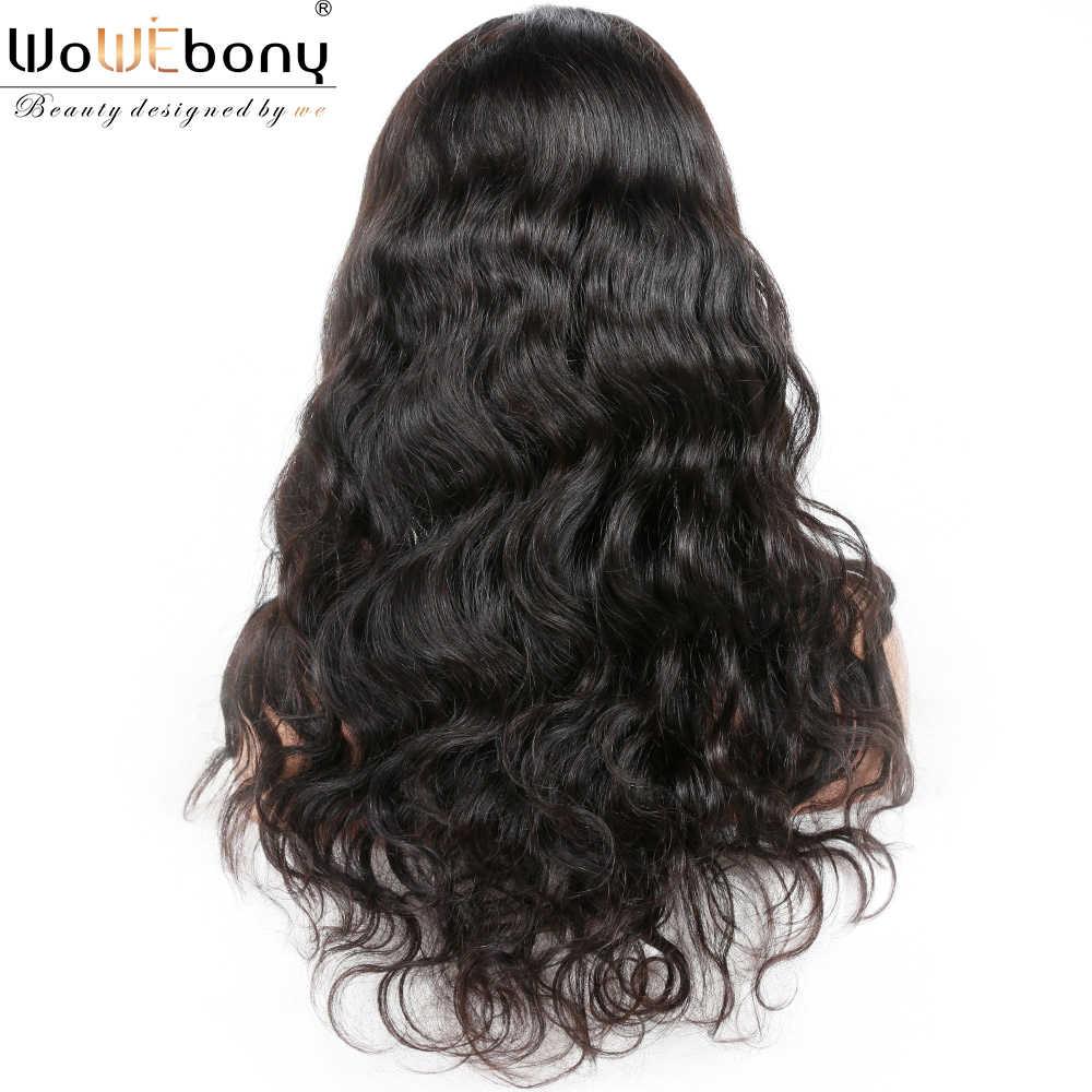 """Pelucas de pelo humano frontal de encaje onda del cuerpo 13*4/6 peluca frontal de encaje 150 densidad brasileña Remy Color Natural alta relación 8-24 """"WoWEbony"""