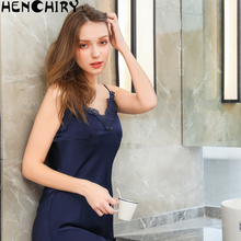 HENCHIRY lace sexy womens nightwear Lace luxury halter skirt ice silk solid color Fashion sleepwear women Nightdress