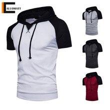 Nowe mody 2021 letnie męskie koszulki z krótkim rękawem Slim szwy koszulki z kapturem męskie odzież sportowa bluza z kapturem mięśni koszulka