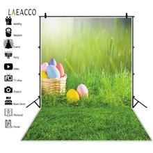 Laeacco Easter Eggs Basket Grassland Spring Baby Birthday Party Photography Backgrounds Photographic Backdrops For Photo Studio