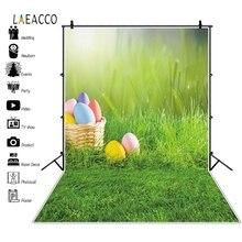 Laeacco سلة بيض عيد القيامة المراعي ربيع الطفل حفلة عيد ميلاد التصوير خلفيات التصوير الفوتوغرافي للتصوير الفوتوغرافي استوديو الصور