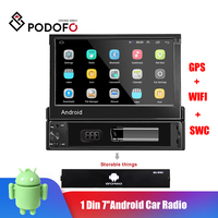 Podofo 1 Din Android Car Radio Car Multimedia Player GPS Navigation Wifi Auto MP5 Bluetooth USB FM Audio stereo Bluetooth USB FM