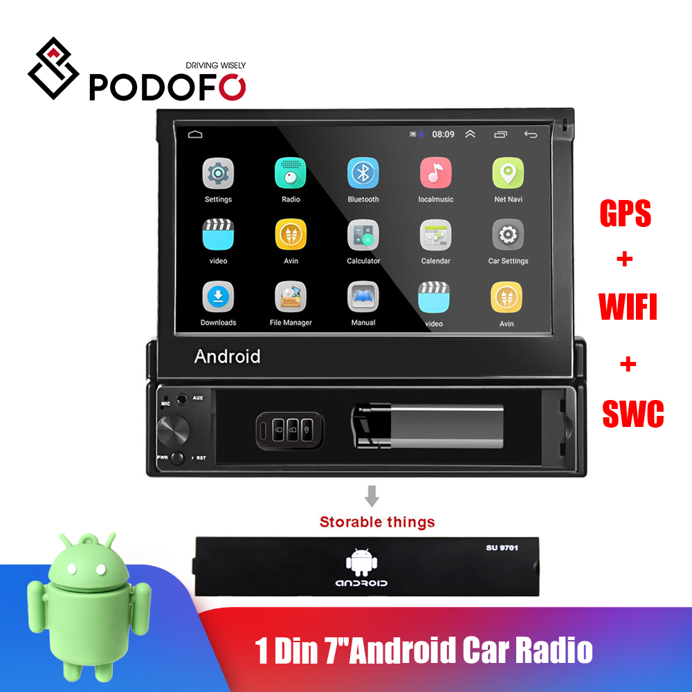 Podofo 1 Din Android Car Radio Car Multimedia Player GPS Navigation Wifi Auto MP5 Bluetooth USB FM Audio stereo Bluetooth USB FM image