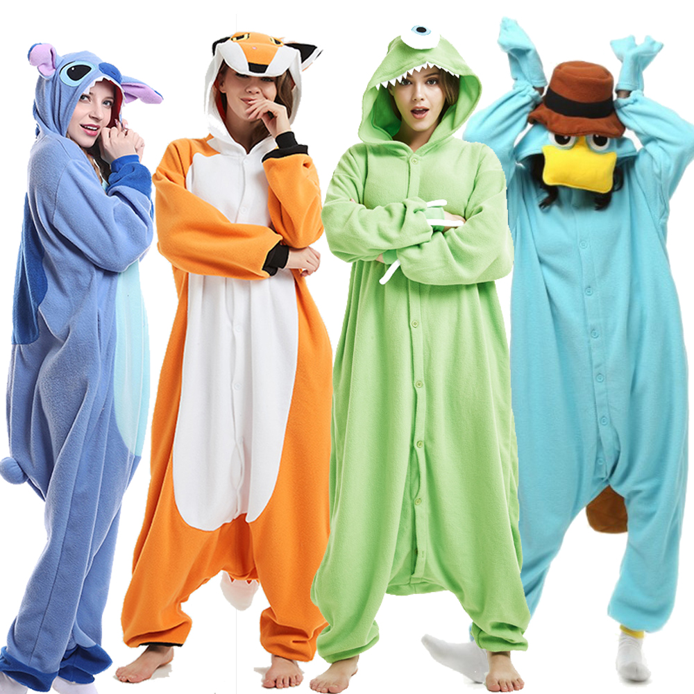 Adults Pajamas Women Men Long Sleeve Sleepwear Unisex Kigurumi Stitch Pokemon Cartoon Animal Pajama Sets Pijamas Hooded Pyjamas