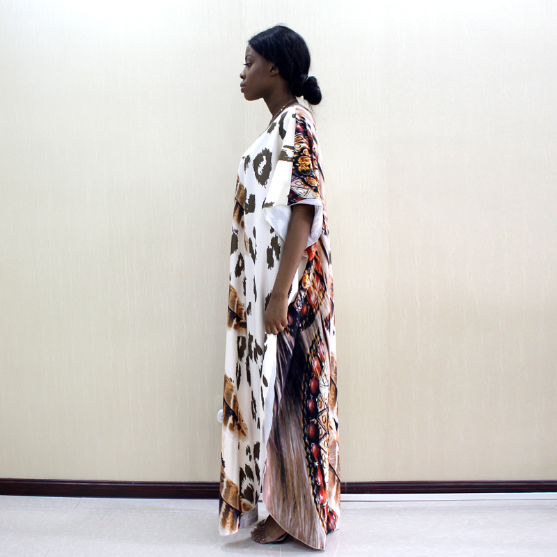 Image 4 - 2019 Dashikiage Latest Arrivals Leopard & Feather Pattern Print African Dashiki Plus Size Women Dress Fashion Women Party DressAfrica Clothing   -