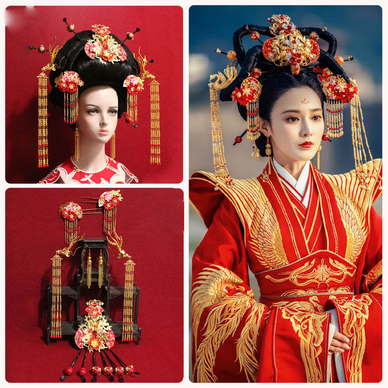 Ancient Chinese Male Female Wedding Hair Tiara Emperer Empress Wedding Hat for TV Play Dong Gong- Good Bye My Princess