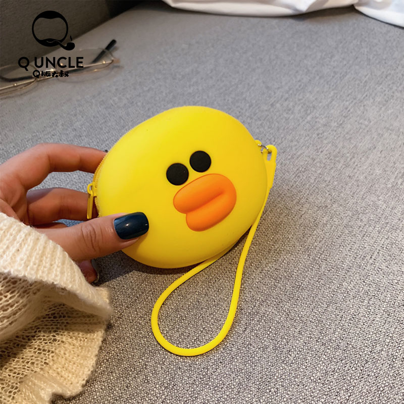 Q UNCLE Soft Silicone Round Mini Bag Cartoon Yellow Duck Zipper Chain Coin Purses Fashion Luxury Small Wallet Pouch Girls Gifts