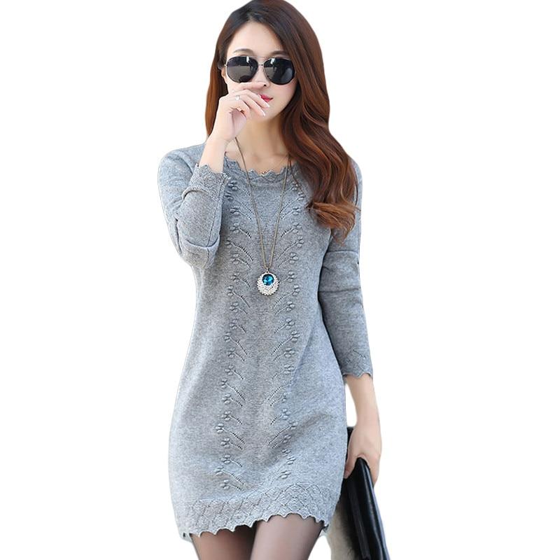 Women Sweaters Dress Pullovers 2019 New Winter Warm Long Knitted Sweater Knitwear Poncho Tunics Gray Black Beige Plus Size M300