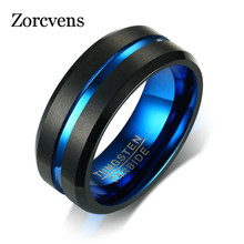 Modyle Black Tungsten Carbide Ring For Men Women Matte Finished Wedding Bands Blue Carbon Fiber Groove Rings Jewelry