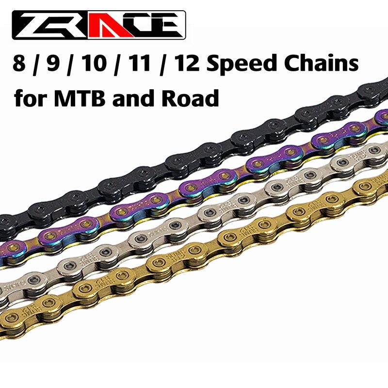 Zrace corrente de bicicleta, 8 9 10 11 12 velocidades mtb mountain bike de estrada, neon-como, prata, preto, dourado, 114/120/126l