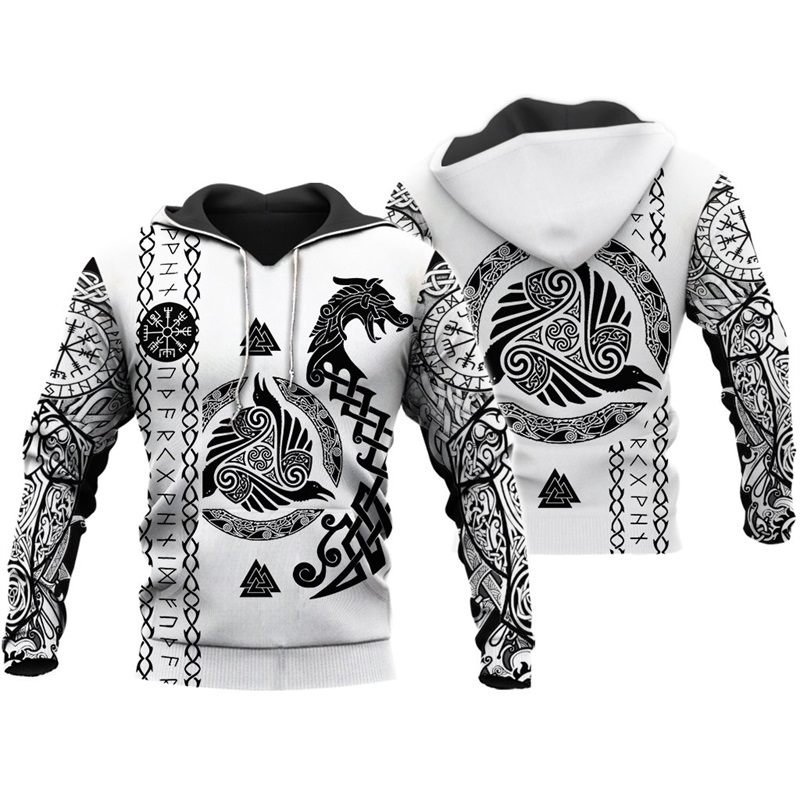 Liumaohua Viking Warrior Tattoo 3D Printed Shirts Casual 3D Print Hoodies/Sweatshirt/Zipper Man Women Satan Tattoo Tops 004