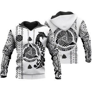 Image 1 - Liumaohua Viking Warrior Tattoo 3D Printed Shirts casual 3D Print Hoodies/Sweatshirt/Zipper Man Women satan Tattoo tops 004