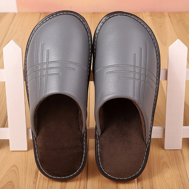 Home Slippers Men Leather Winter House Shoes Short Plueh Flat Waterproof Male Indoor Slippers 2019 Fashion Men Slippers