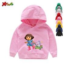 Sudaderas con capucha para niña, ropa de algodón para niño, sudaderas con capucha de dibujos animados blancos para niño pequeño, suéter para bebé de Primavera de 2 a 7 años 2020