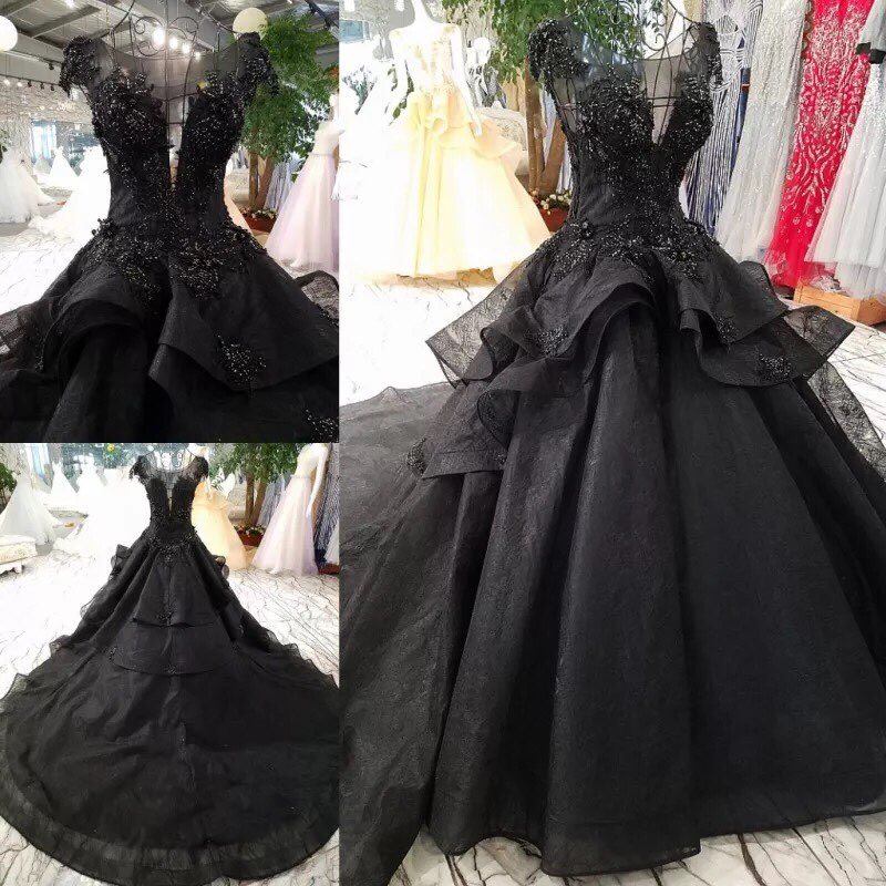 Real Image Gothic Black Lace Ruffles Puffy  Wedding Dresses Appliques Beaded Lush Bridal Ball Gowns Vestidos De Novia