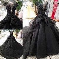 Real Image Gothic Black Lace Ruffles Puffy Wedding Dresses Appliques Beaded Lush Bridal Ball Gowns Vestidos De Novia