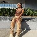 Уличная одежда FQLWL, брюки-карго с высокой талией, женские брюки, обтягивающие штаны, женские узкие штаны-шаровары с заклепками, женские джогг...