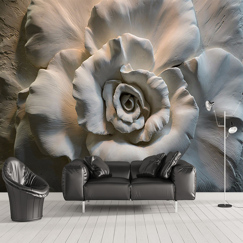 Custom Mural Wall Papers 3D Stereo Relief Rose Flowers Abstract Art Wall Decor Cafe Restaurant Living Room Bedroom Wallpaper 3D