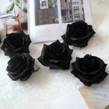 Hot 1pcs black rose suitable for home wedding fake flower decoration scrapbooking paper diy garland gift box cheap artificial bo(China)