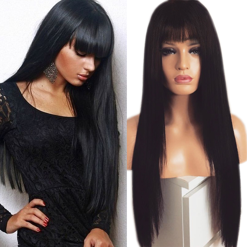 Charisma Black wig Long Straight Hair Lace Wigs Glueless Heat Resistant Synthetic Lace Front Wig with Bangs for Black Women(China)