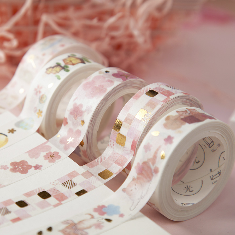1PC Cute Cat Tape , Pink Foil Cherry Blossom Floral Tape Flower Washi Tape, Grid Tape Scrapbook Supplies Stickers Scrapbooking