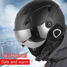 Лыжный шлем очки солнцезащитный козырек для мужчин и женщин шлем для сноуборда мотоциклетный снегоход скейтборд защитный шлем маска зимняя теплая