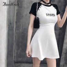 InsGirl Dark Goth robe femmes redoute brodé noir et blanc Raglan manches courtes robe Harajuku Sexy Y2k e-girl Punk robe