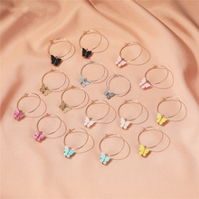 Luokey 2020 Colorful Sweet Butterfly Hoop Earrings For Women Gold Silver Color Simple Cute Acrylic Animal Earrings Girls Jewelry цена 2017