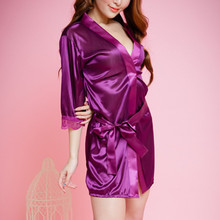Robes Bridesmaid Satin New Purple Dressing-Gown/kimono Faux-Silk Sisters Wedding
