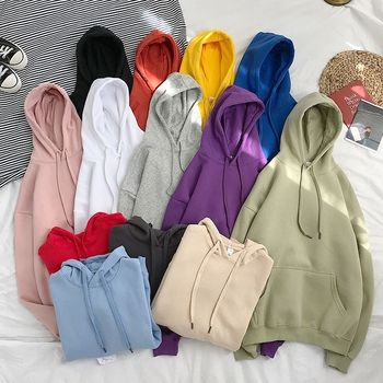 oversized 12 Colors Sweatshirts autumn Women's Solid Hooded Female 2020 Cotton Thicken Warm Hoodies Lady Autumn Fashion Tops new autumn winter hooded sweater women solid korean sweatshirts female 2020 cotton thicken warm hoodies couple loose coat