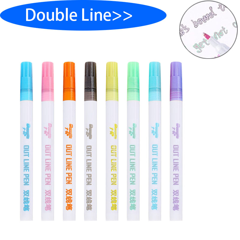 Gift Card Writing Drawing Double Lines Outline Pen Out Line Pen Fine Liner Marker Calligraphy Lettering Colors Scrapbooking Pen