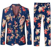 luxury floral print gentleman style mens suits tailor suit 3 pieces sets slim wedding modern