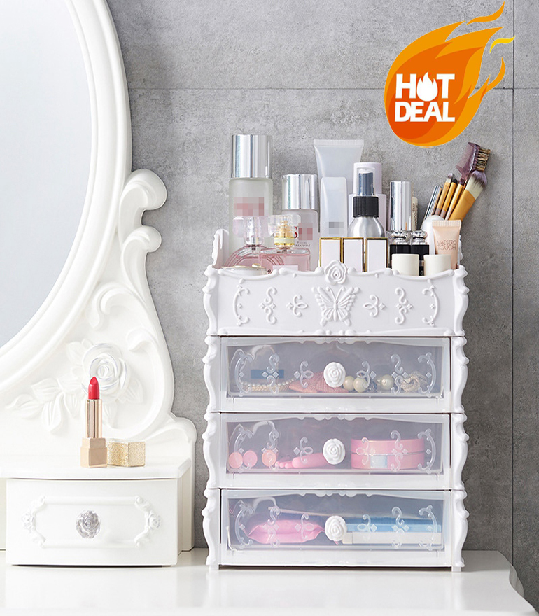Plastic Cosmetic Drawer-type Large Container Cosmetic Storage Box For Storing Cosmetics, Nail Polish, Household Desktop Debris S
