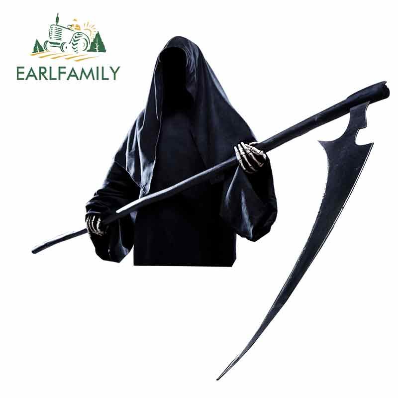 EARLFAMILY 13cm X 12.4cm For Death Is Coming Scythe Fine Decal Waterproof Graffiti Sticker Car Accessories 3D Vinyl Car Wrap