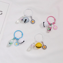 Handmade Mineral water bottles key Chain Imitation mineral bottle pan egg Key Chains Alloy Charms Gifts Wholesale keyring