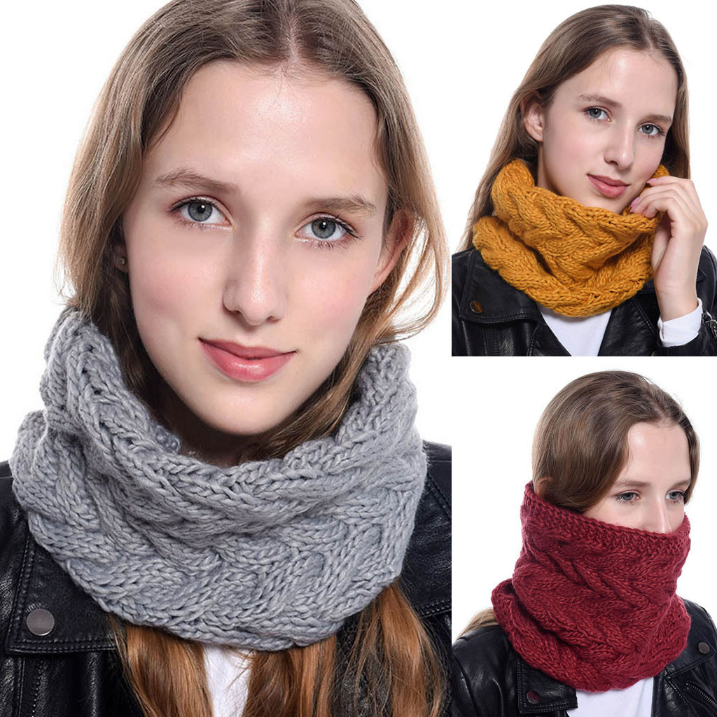 2020 New Autumn Winter Women Chunky Knit Cowl Neck Warm Ring Scarf Circle Thick Crochet Scarves Neck Circle Snood Shawl #1004