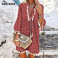 Sexy V Neck Tassel Summer Beach Dress Women Casual 3/4 Sleeve Spring Party Dress Elegant Vintage Floral Print A-Line Mini Dress