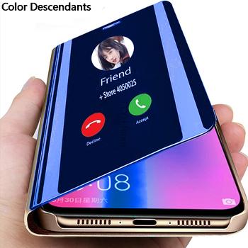Luksusowe inteligentne lustro Etui do Xiaomi Redmi 9 Etui z klapką pokrywa dla Xiaomi Redmi 9A 9 Redmi9 Redmi9a Etui na telefon Etui torby tanie i dobre opinie Color Descendants CN (pochodzenie) Smart Mirror Flip Clear View Phone Case ZDOBIONE Zwykły przezroczyste In Stock Free Shipping