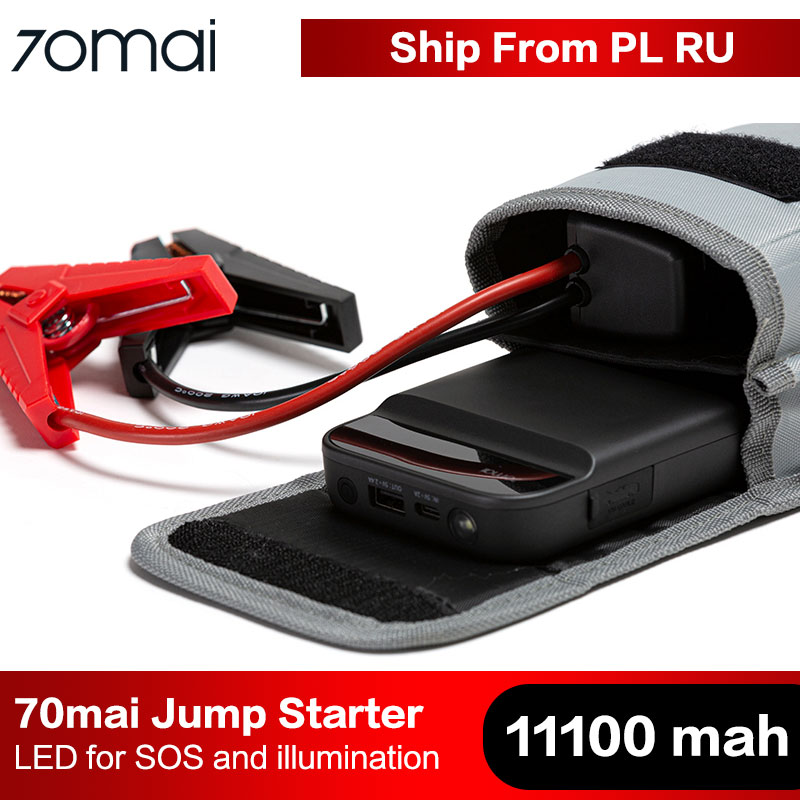 2020 12V Emergency Car Booster Built-in Flashlight up to 4.0L Gas, 2.0L Diesel Engine Type-C Port USB Output 70mai 600A 11100mAh Portable Jump Starter Power Bank Fast Charge