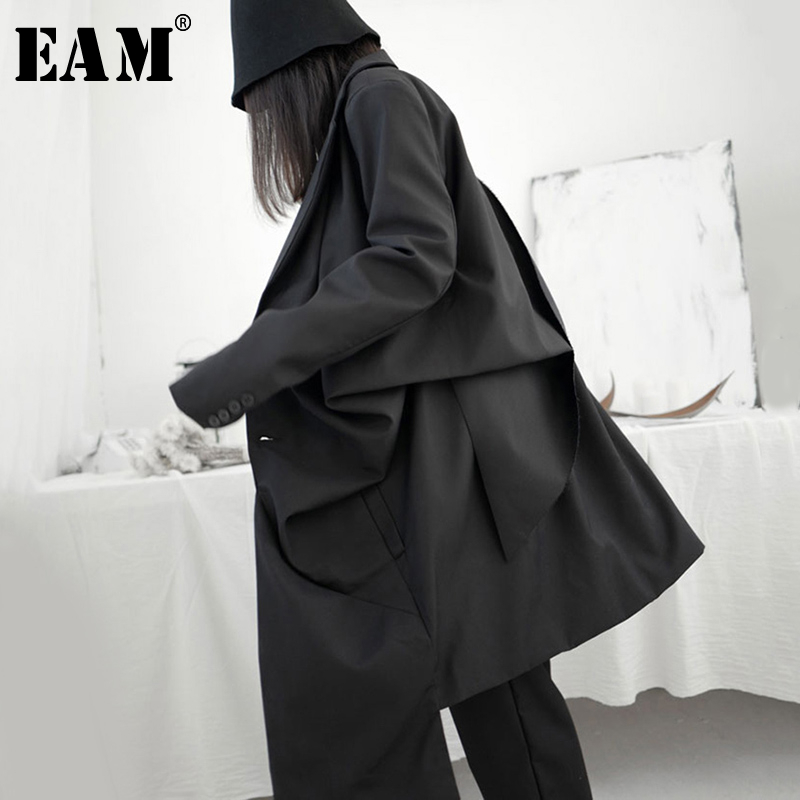 [EAM] Women Black Pleated Stitch Big Size Trench New Lapel Long Sleeve Loose Fit Windbreaker Fashion Tide Spring 2020 1S241