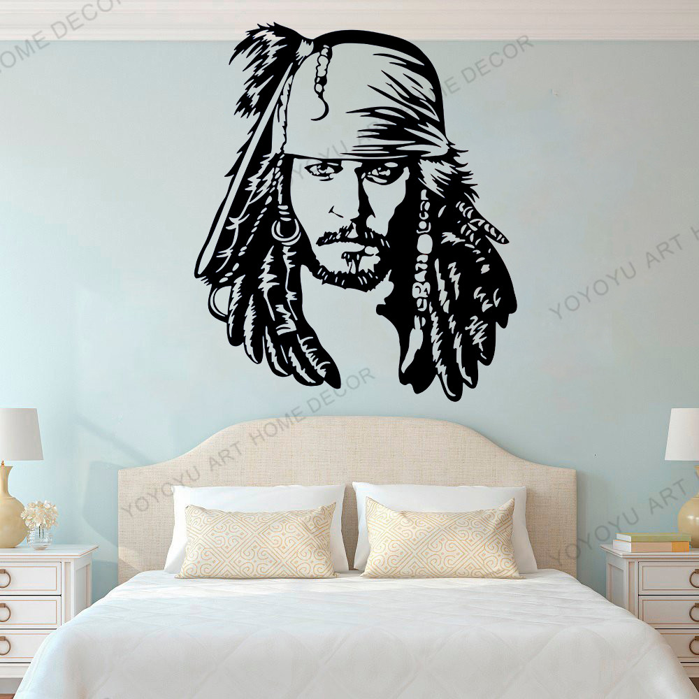 Classic Captain Jack Sparrow Wall Decal Vinyl Sticker Pirates of the Caribbean Adventure Movie Decorations for Home Decor WX336 image