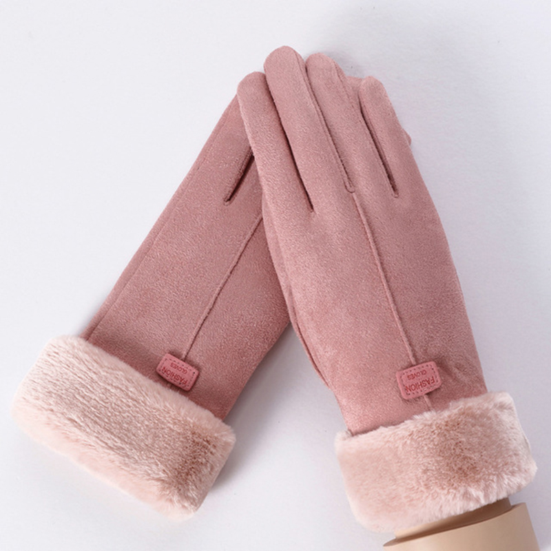 MoneRffi Winter Female Wool Gloves Warmth Cashmere Suede Fabric Warm Thicken Plush Wrist Winter Gloves Women Driving Mittens