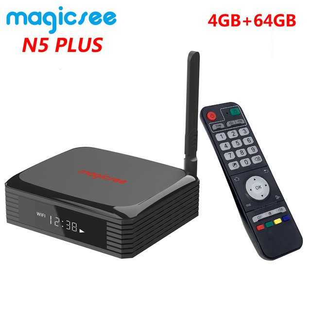 Magicsee N5 Plus Amlogic S905X3 Android 9.0 ทีวีกล่อง 4G Ram 64G Rom 2.4/5G Dual wiFi Ethernet BT 4.0 สมาร์ทกล่อง 8K HDR Set Top Box