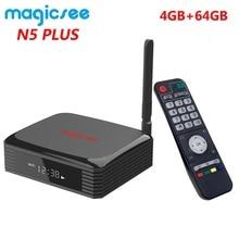 Magicsee N5 Plus Amlogic S905X3 أندرويد 9.0 صندوق التلفزيون 4G Ram 64G Rom 2.4/5G ثنائي واي فاي إيثرنت BT 4.0 صندوق ذكي 8K HDR مجموعة صندوق فوقي