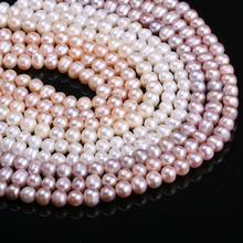Natural Freshwater Cultured Pearls Beads Round 100% for Jewelry Making Necklace Bracelet 13 Inches Size 6-7mm