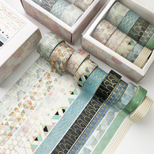 Japanese Stationery Sticker Tapes Paper Decorative Lattice Scrapbooking Adhesive Gold